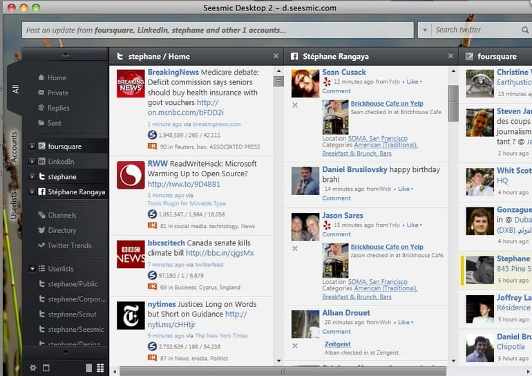How to post to multi social network simultaneously? seesmic desktop