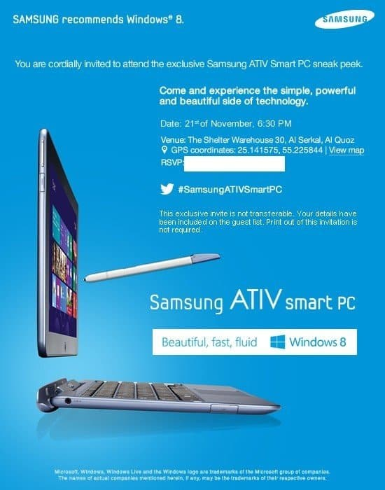 Samsung Galaxy Android Camera and Windows 8 powered Samsung ATIV smart PC launching this week in Dubai. Samsung ATIV Smart PC Sneak Peek Invite