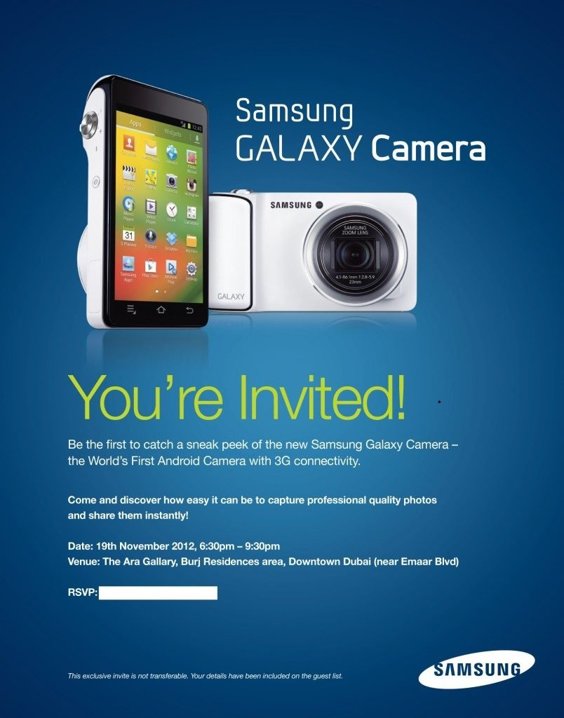 Samsung Galaxy Android Camera and Windows 8 powered Samsung ATIV smart PC launching this week in Dubai. Samsung Galaxy Camera Emailer