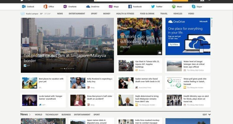 MSN Homepage English