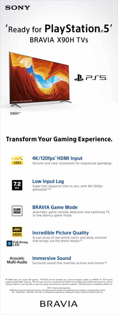 Sony Middle East & Africa anuncia 'pronto para PlayStation 5' para as atuais TVs BRAVIA