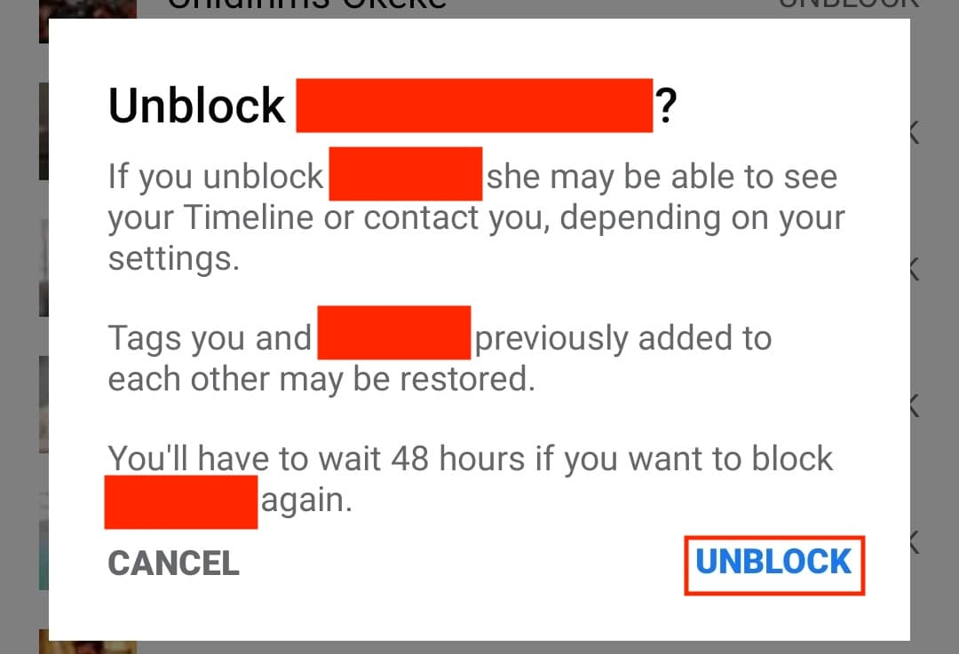 How to unblock someone on Facebook for Android