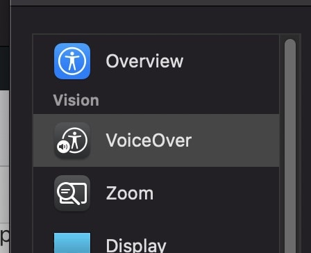 How to enable the Voice Over feature on the Mac