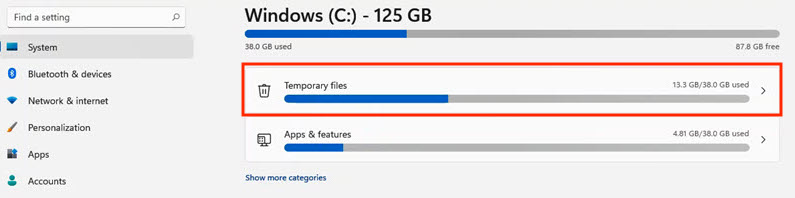 How to delete temporary files on Windows 11